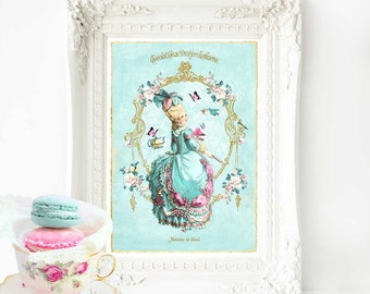 Marie Antoinette print, tea party print, home decor, French vintage decor, macarons, bedroom decor, blue decor, bakery print, vintage decor