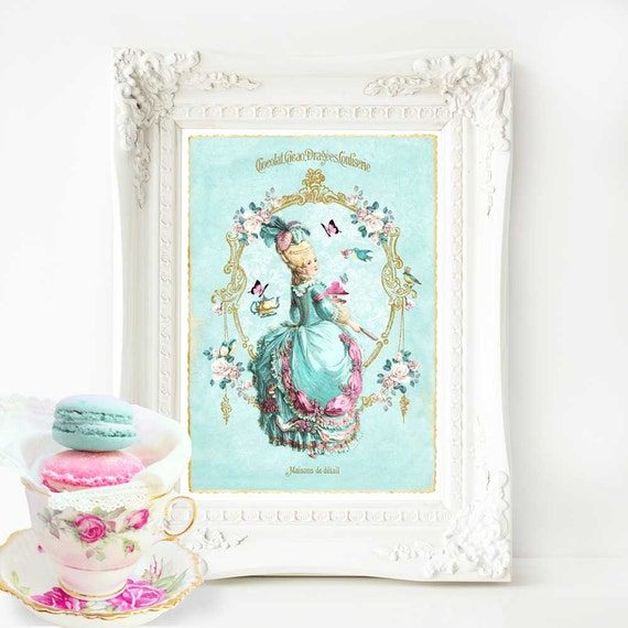 Marie Antoinette French art print, vintage tea party in blue and pink, A4 giclee