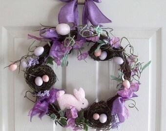 Easter eggs spring wreath, Spring wreath for front door, Spring decor, Easter wreath, gift, nest