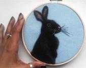 "Embroidery Hoop Art Black Bunny on Blue Felt Needle Felting Pet Portrait 6"" READY to SHIP"