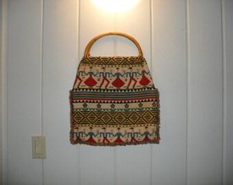 70s folk art bag-hippie ethnic print, Scandinavian peasant dancer ethnic print, large tote with natural reed wrap handle.