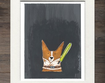 "Corgi, Luke Corgwalker"" Matted Art Print"
