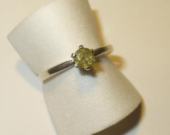 Demantoid Garnet Solitaire Ring - Rare Genuine Natural Gem - Size 6.5