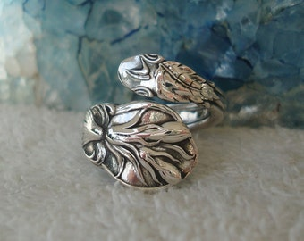 Flower Bud Bouquet Gorham Vintage Sterling Silver Spoon Ring dmfsparkles