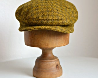 Men's Driving Cap in Vintage Wool - Men's Wool Flat Cap - Made to Order - 4 to 6 WEEKS FOR SHIPPING