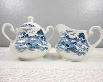Vintage Sugar & Creamer Bluebrook Pattern - Staffordshire England - Mint Condition