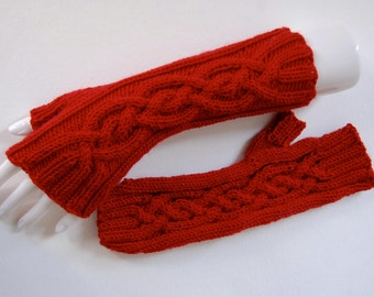 Red Cable Fingerless Mitts