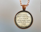 Sylvia Plath (Books) : Glass Dome Necklace, Pendant or Keychain Key Ring. Gift Present metal round art photo jewelry HomeStudio