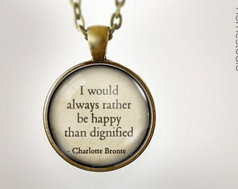 Charlotte Bronte Happy : Glass Dome Necklace gift present by HomeStudio. Round art photo pendant jewelry. Available as Key Ring Keychain