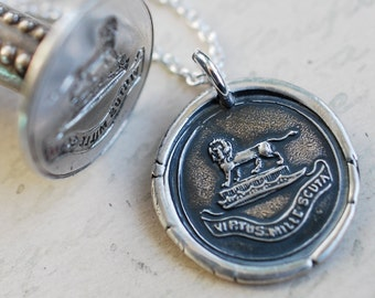 lion wax seal necklace - VIRTUS MILLE SCUTA - virtue is a thousand shields - Latin motto fine silver antique wax seal jewelry