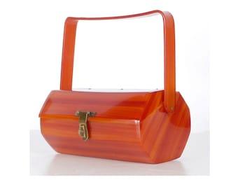 Vintage 50s Purse - 50s Box Purse - 50s Lucite Purse - Tortoise Shell Lucite - Lucite Box Purse - Florida Handbags - Top Handle Purse