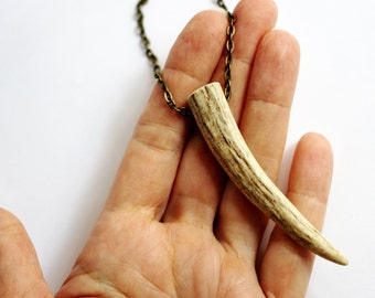 Antler Tip Necklace Deer Antler Pendant Brass Chain Eco-Friendly Shed Antler  Handmade Natural Antler Jewelry by Hendywood