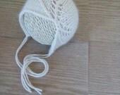 Asymmetry Bonnet - knit newborn hat, newborn photo prop, baby hat