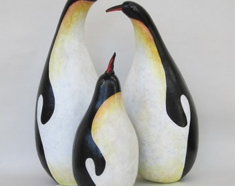 Gourd Penguin Family hand painted Figures
