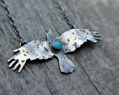 Bird totem necklace - raven necklace - rustic - southwestern - sterling silver necklace - turquoise - layering necklace - bird necklace