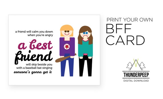 Best Friend blank card BFF forever - printable card