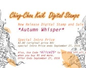 Intro Price 『Autumn Whisper』 - Instant Download / Fall Flower Butterfly Moth Fantasy Fairy Girl Art by Ching-Chou Kuik