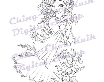 Heart of Faith - Digital Stamp Instant Download / Butterfly Moth Lily Flower Flora Fantasy Fairy Girl by Ching-Chou Kuik