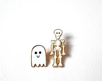 Skeleton & Ghost, Pin Badges, Halloween Pins, Ghost Pin, Skeleton Pin, Enamel Pin Badge Set, Lapel Pins