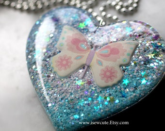 Cotton Candy Blue Pink Butterfly Necklace, Resin Pendant, Statement Jewelry, Huge Pastel Glitter Heart Necklace, Harajuku Style by isewcute