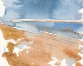 Red Sand Beach, Original Watercolour Painting, 5 x 7 inches, Water, Ocean, PEI, Tides, Blue