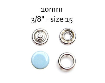 25 sets Baby Blue Snap Fasteners 10MM. capped snaps. clothes fasteners. no sew snap buttons. metal prong snaps. baby snaps #700158