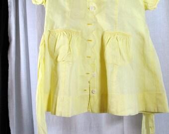 Vintage Toddler Dress - Yellow Cotton Handmade