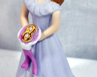 1982 ENESCO Porcelain Growing Up Birthday Girl Age 9 Brunette - E9532