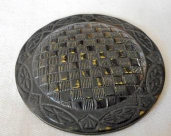 Very Large VINTAGE Weave Design Black Celluloid BUTTON