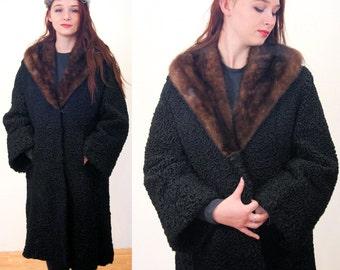 Fab 50s Persian LAMB Coat, Fur Collar Coat L XL, Black Karakul Fur Coat, Full Length Vintage Winter 1950s Coat
