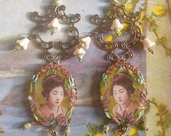 Lilygrace Geisha Green Pastel Earrings with Brass Filigrees,  Glass Flowers, Pagoda Charms and Vintage Rhinestones