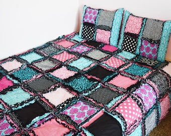 Zebra Bedding Paris Theme Bedroom- Black / Pink / Turquoise Comforter- Paris Bedding Available in Twin / Full / Queen / King Size Bedspreads
