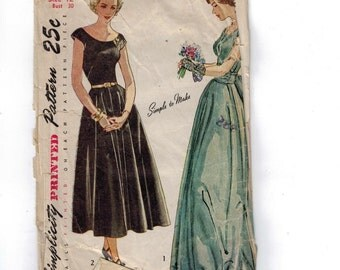 1950s Vintage Sewing Pattern Simplicity 2663 Misses Scoop Neck Day Dress with Full Skirt and Peplum Evening Gown Size 12 Bust 30 50s