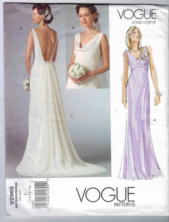 Misses sewing pattern vogue v2965 2965 misses low back draped for High low wedding dress patterns