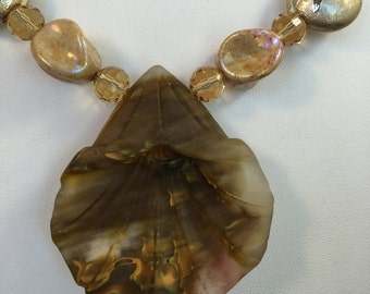 Large Cherry Quartz Flower and Beaded Necklace