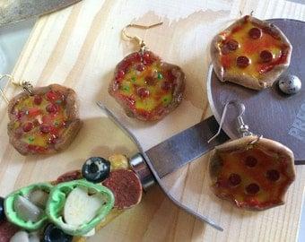 Pizza Love Pepperoni Pie Dangle Earrings