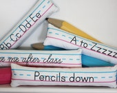 Penmanship Pillow - One Liners // Teacher Gift // Classroom // Kids Room Decor // Elementary School // School Theme // Pink // Blue // White