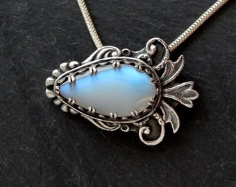 Sterling Moonstone Necklace: sterling silver, fine silver, pmc, Art Clay Silver, blue flash rainbow moonstone pendant, adjustable 16-18 inch