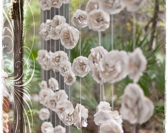 Curtain of six 10 ft long INDIVIDUAL Rustic Paper Flowers Roses Garland Backdrop Vintage Book Pages Eco Wedding Love Embellished