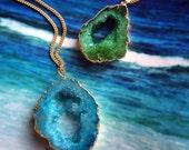 Raw Druzy Necklace, Geode Necklace, Rough Geode Charm, Rough Geode Necklace, Raw Geode Pendant, Raw Geode Necklace, Druzy Geode Necklace