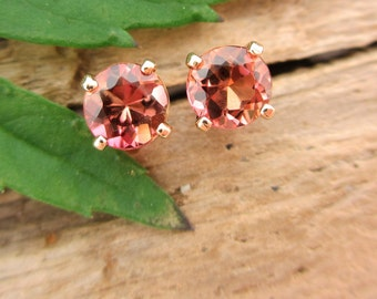 Padparadscha Peach Tourmaline Earrings in Gold with Genuine Gems, 4mm
