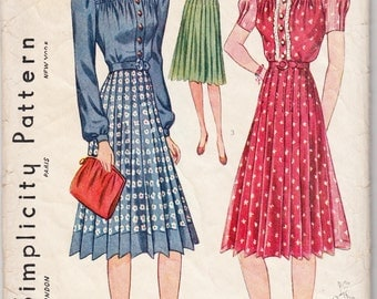 Original Vintage Sewing Pattern Simplicity 3378 Ladies' Tailored Dress 1940 32 Bust - With FREE Pattern Grading E-Book Included