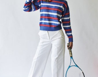Vintage  70's Knit Red White and Blue Striped Sweater Size L