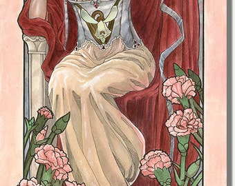 Art Print Lady of January with Snowdrops & Carnations with Veil Art Nouveau Birthstone and Birth Flower Mucha Inspired Painting