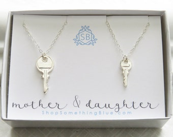 Mother & Daughter Key Necklaces • Key Charms • Key To My Heart • Family Gift • Mother's Day Gift • Gift for Daughter
