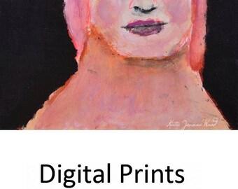 Nerdy Girl Portrait Painting Print. Girl Art Digital Print. Portrait Wall Decor. Birthday Gift for Her.