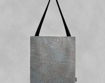 Subtle Blue Grey Graphic Spiral and Leaf Fossil Shapes Pattern Canvas Tote Bag
