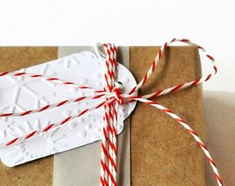 Embossed Snowflake Tags | Snowflake Tags | Christmas Tags | Embossed Christmas Tags | Holiday Gift Wrap | White Mini Tags