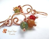 Multi Color Gemstone Earrings. Boho Copper Dangles. Red Green Orange Stone Clusters. Chandelier Earrings. Carnelian, Aventurine, Moss Agate