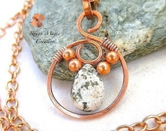 Ocean Jasper Pendant Copper Jewelry Wire Wrapped Stone Green Gemstone Pendant Boho Rustic Open Circle Pendant Copper Chain Necklace Optional